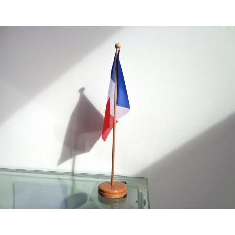 Drapeau de table France socle bois