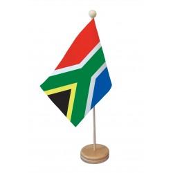 Drapeau de table Afrique du Sud socle bois
