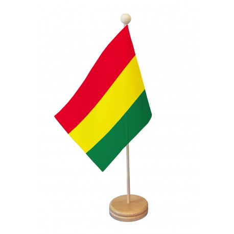 Drapeau de table Bolivie socle bois