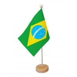 Drapeau de table Brésil socle bois
