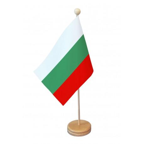 Drapeau de table Bulgarie socle bois