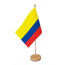 Drapeau de table Colombie socle bois