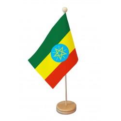Drapeau de table Ethiopie socle bois