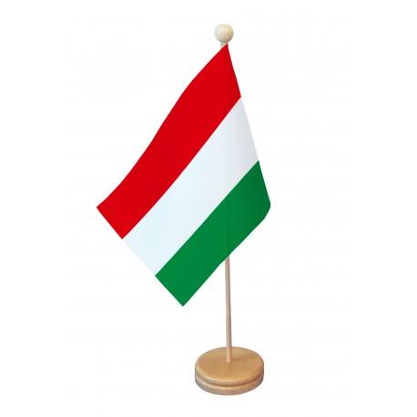 Drapeau de table Hongrie socle bois