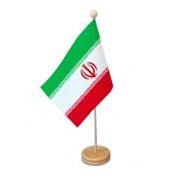 Drapeau de table Iran socle bois