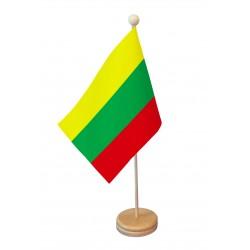 Drapeau de table Lituanie socle bois