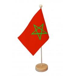 Drapeau de table Maroc socle bois