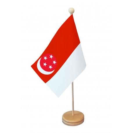 Drapeau de table Singapour socle bois