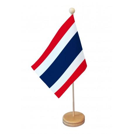 Drapeau de table Thaïlande socle bois