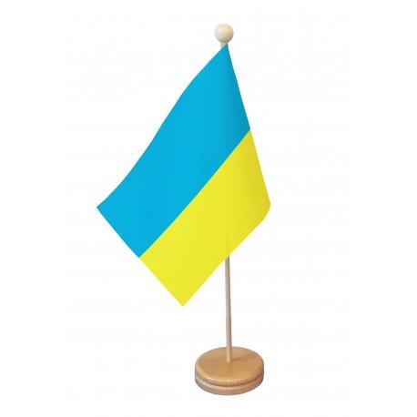 Drapeau de table Ukraine socle bois