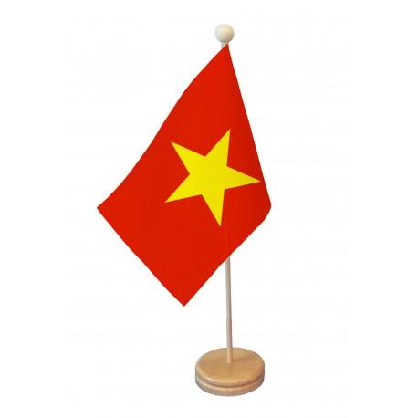 Drapeau de table Viêt Nam socle bois